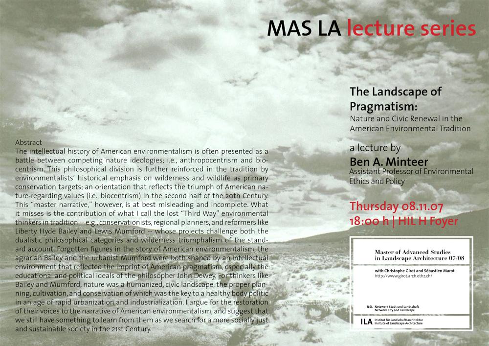 The landscape of pragmatism - Ben. A. Minteer -Landscape Architecture-ETH Zürich-Prof. Girot