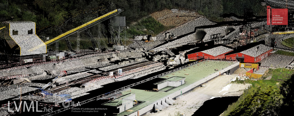 Point cloud model view of the AlpTransit Base Station in Erstfeld looking towards the new Gotthard tunnel