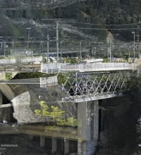 Point cloud model section in Göschenen cutting through the Reuss valley both with the old train and road bridges