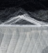 Point cloud model of the Lucendro Dam on the Gotthard Pass showing both the inner tectonics of the structure as well as the outer surface